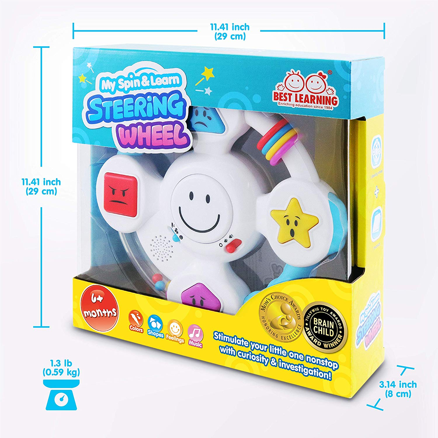 Best Learning My Spin Learn Steering Wheel Feelings Music Game Ideal Baby Toy Gifts Shapes Toddlers Babies Learn Colors Interactive Educational Toys For 6 To 36 Months Old Infants Music